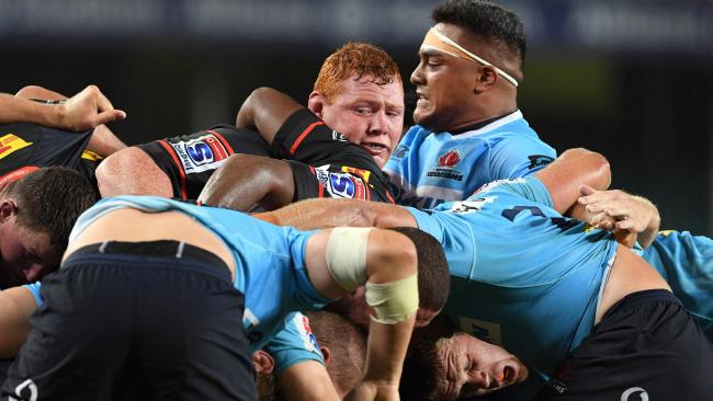 The Waratahs scrum struggled against the Stormers.
