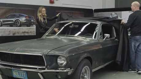 Molly McQueen reunited with her late grandfather's original Bullitt Ford Mustang from the 1968 movie. Picture: Supplied.