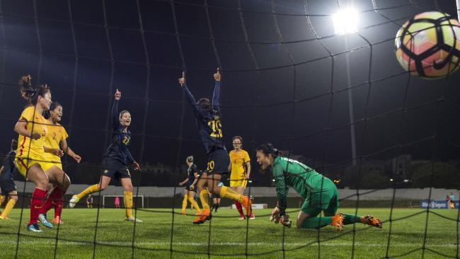 Sam Kerr celebrates the Matildas' second goal late on.