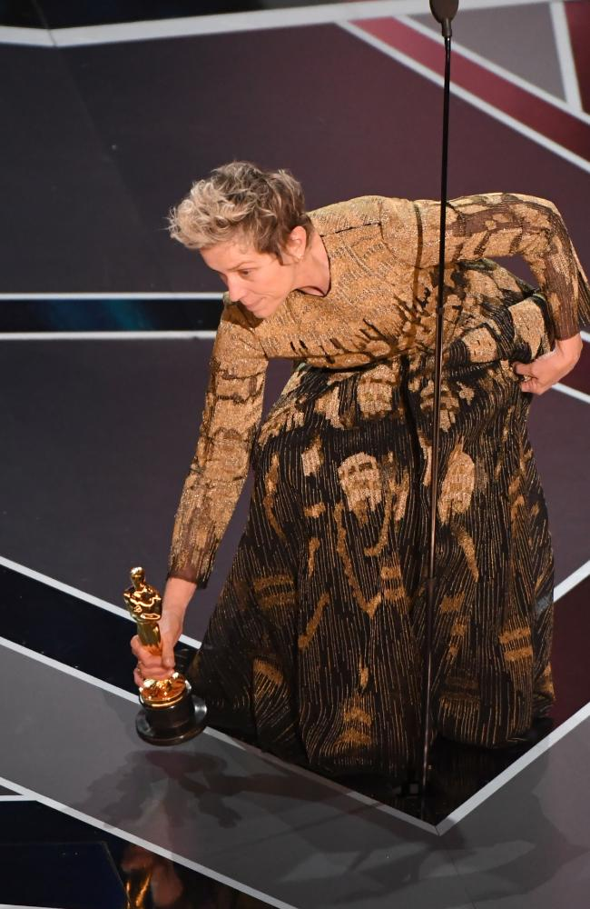 She dramatically placed her Oscar on the ground while she made a statement about female empowerment. Picture: AFP