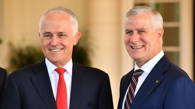 Prime Minister Malcolm Turnbull and Deputy Prime Minister Michael McCormack in Canberra last week. (Pic: Mick Tsikas)