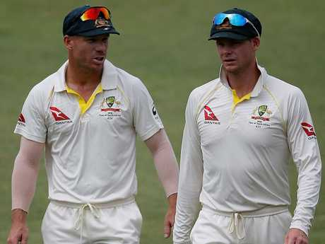 David Warner and Steven Smith during the first Test.