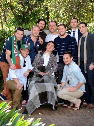 Sam Ballard with friends when he was in rehab.