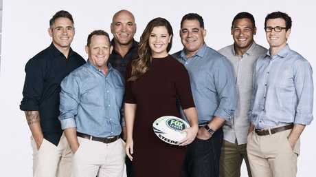Fox Sports' Fox League Channel commentators, from left, Corey Parker, Kevin Walters, Gorden Tallis, Yvonne Sampson, Mal Meninga, Justin Hodges and Ben ikin.