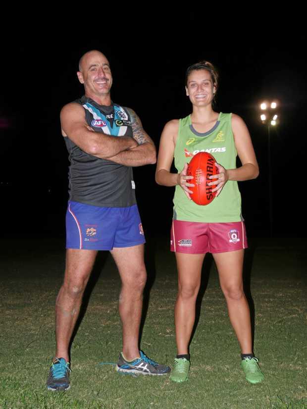 Coach Darren Jackson with captain Lea Piccineli.