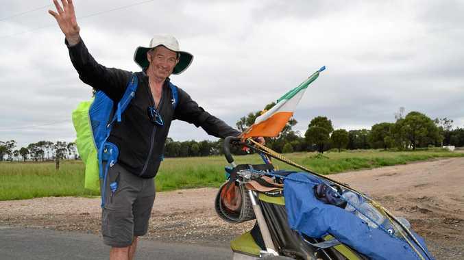 ROUND THE WORLD: Irishman Tony Mangan is walking around the world, and walked through Dalby on the weekend.