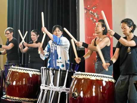 DRUMMERS: Playing the new drums are (from left) Toowoomba Taiko Group drummers Michelle Wiersma, Joanne Murrell, Mami Danno (from Takatsuki) Jun Doherty and Tomoko Sneath.