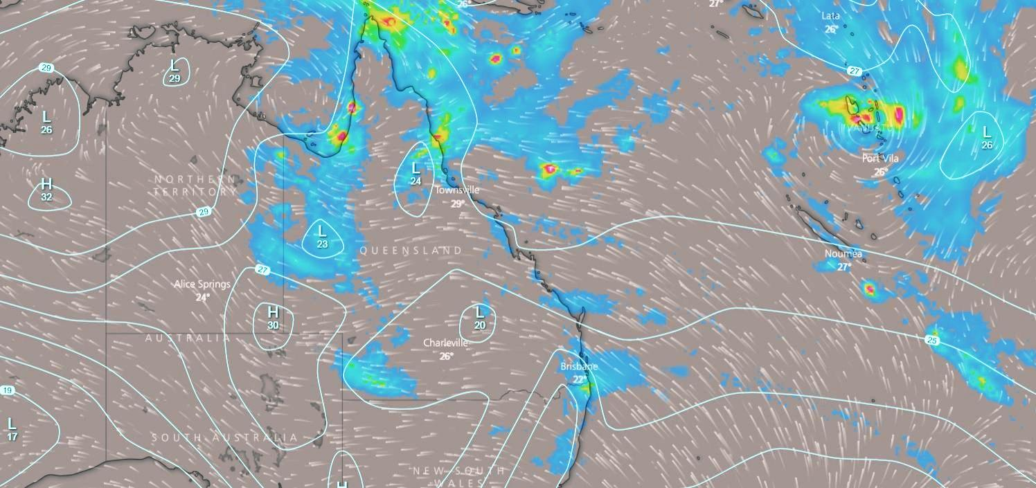 A monsoon trough is developing in the Gulf with the potential to form into a tropical cyclone at the weekend. Meanwhile Cyclone Hola formed overnight near Vanuatu (far right of picture).