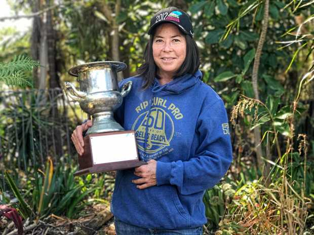 CHAMP: Pauline Menzcer pictured at home in Brunswick with her 1993 world champion's trophy.
