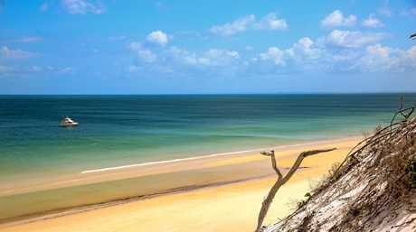 The view of the Great Sandy Strait from the sand dune south of Awinya Creek, Fraser Island.