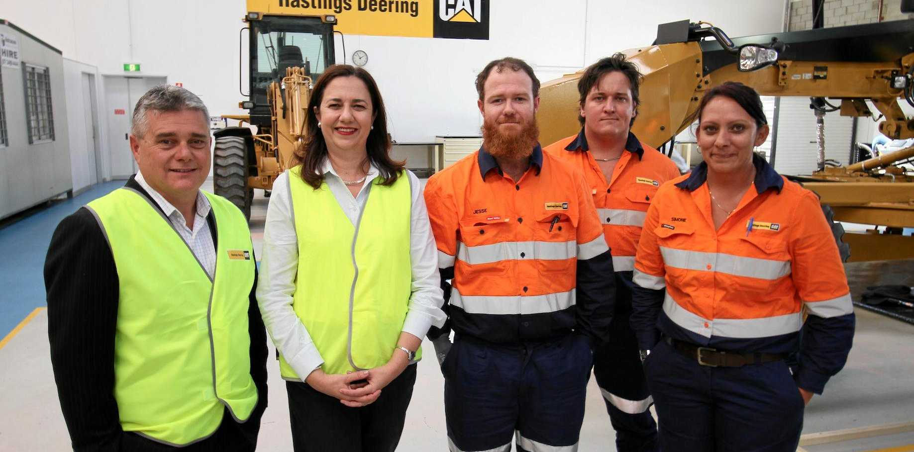 Simone Suradi, right, was one of the Hastings Deering apprentices who met with Premier Annastacia Palaszczuk during a recent visit to Paget.