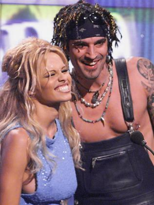 Pamela Anderson with then husband Tommy Lee.  Picture:  Supplied