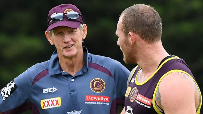 Broncos coach Wayne Bennett speaks to Matt Lodge.