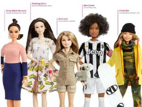 She's a doll! Bindi Irwin as a Barbie (third from left). Picture: Mattel