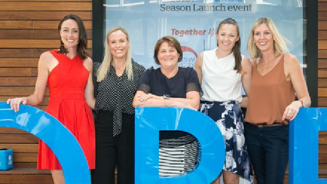 Former players Bec Bulley, Kim Green, Susan Pettitt and Catherine Cox with former coach Julie Fitzgerald (centre) at the season launch. Pic: Narelle Spangher Photography