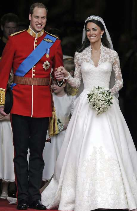 The Duchess of Cambridge's dress was designed by Alexander McQueen's Sarah Burton. Picture: AP