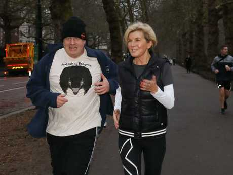 The Foreign Minister and British Foreign Secretary Boris Johnson during a pre-work sunrise run in London. Picture: Ella Pellegrini