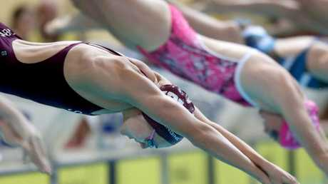 Ariarne Titmus in action at the Queensland Girls Secondary Sports Association 2018 swimming carnival, held at the Sleeman Sports Complex. Picture: AAP/Steve Pohlner