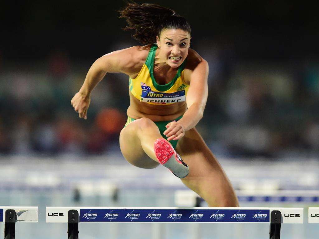 Michelle Jenneke of Team Australia wins the 100m hurdles nnn
