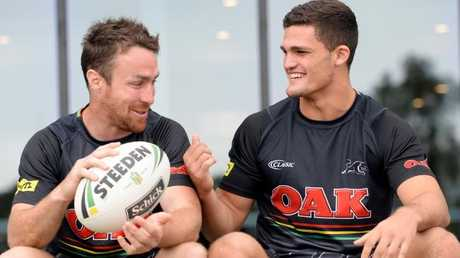 Penrith Panther players James Maloney and Nathan Cleary.