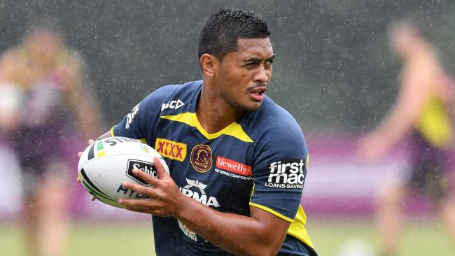 Anthony Milford is seen during a Brisbane Broncos training session at Clive Berghofer Field in Brisbane, Wednesday, March 7, 2018. The Broncos play the St George-Illawarra Dragons in the opening match of the 2018 NRL season on Thursday night in Sydney. (AAP Image/Darren England) NO ARCHIVING