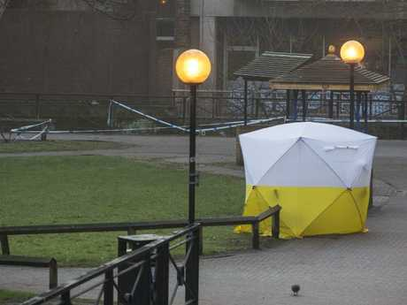 A police tent covers the spot where former Russian double agent Sergei Skripal and his daughter were found critically ill. Picture: Steve Parsons/PA via AP