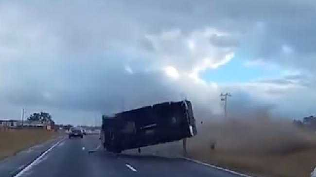 A Nissan Navara flips three times before landing on its wheels. Picture: Dash Cam Owners Australia