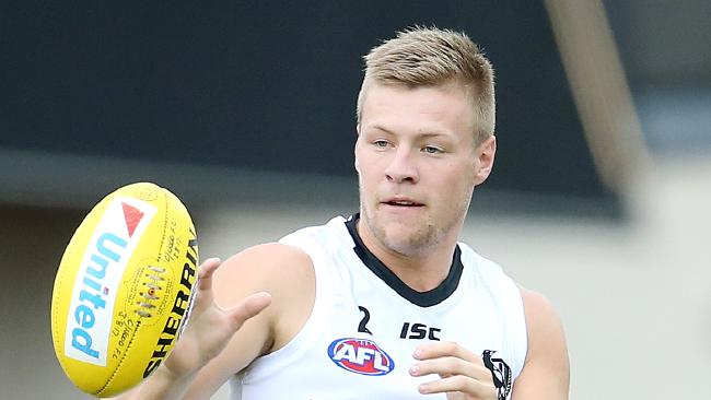 Collingwood's Jordan De Goey in action during a Pies intra-club. Pic: Michael Klein