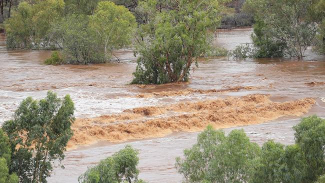 A swollen Cloncurry River after heavy rains soaked the North West of Queensland. Picture: Lachie Millard