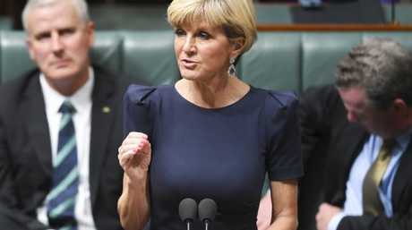 Australian Foreign Minister Julie Bishop speaks during House of Representatives Question Time at Parliament House in Canberra. Picture: AAP/Lukas Coch