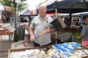 Maryborough markets - Wayne Usher selling hardware items.