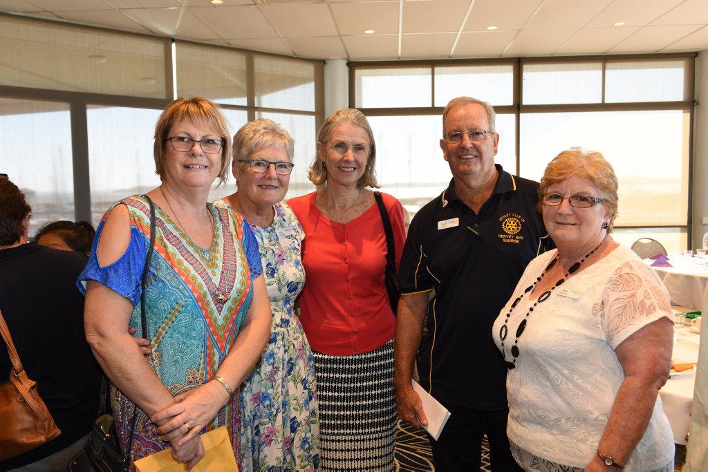 Image for sale: Hervey Bay Zonta Club International Women's Day breakfast - (L) Joy Beacham, Val Hooper, Dianne Riseley, Ivan Mapp and Pam Gregory.