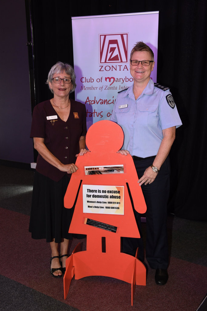 Maryborough Zonta Club International Women's Day lunch - (L) Anne Kearse (president) with guest speaker Louise Kneeshaw (G/Mgr. Maryborough Correctional Centre).