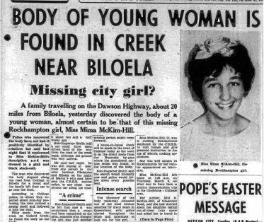 The story published in the Morning Bulletin about Mima McKim-Hill's death.
