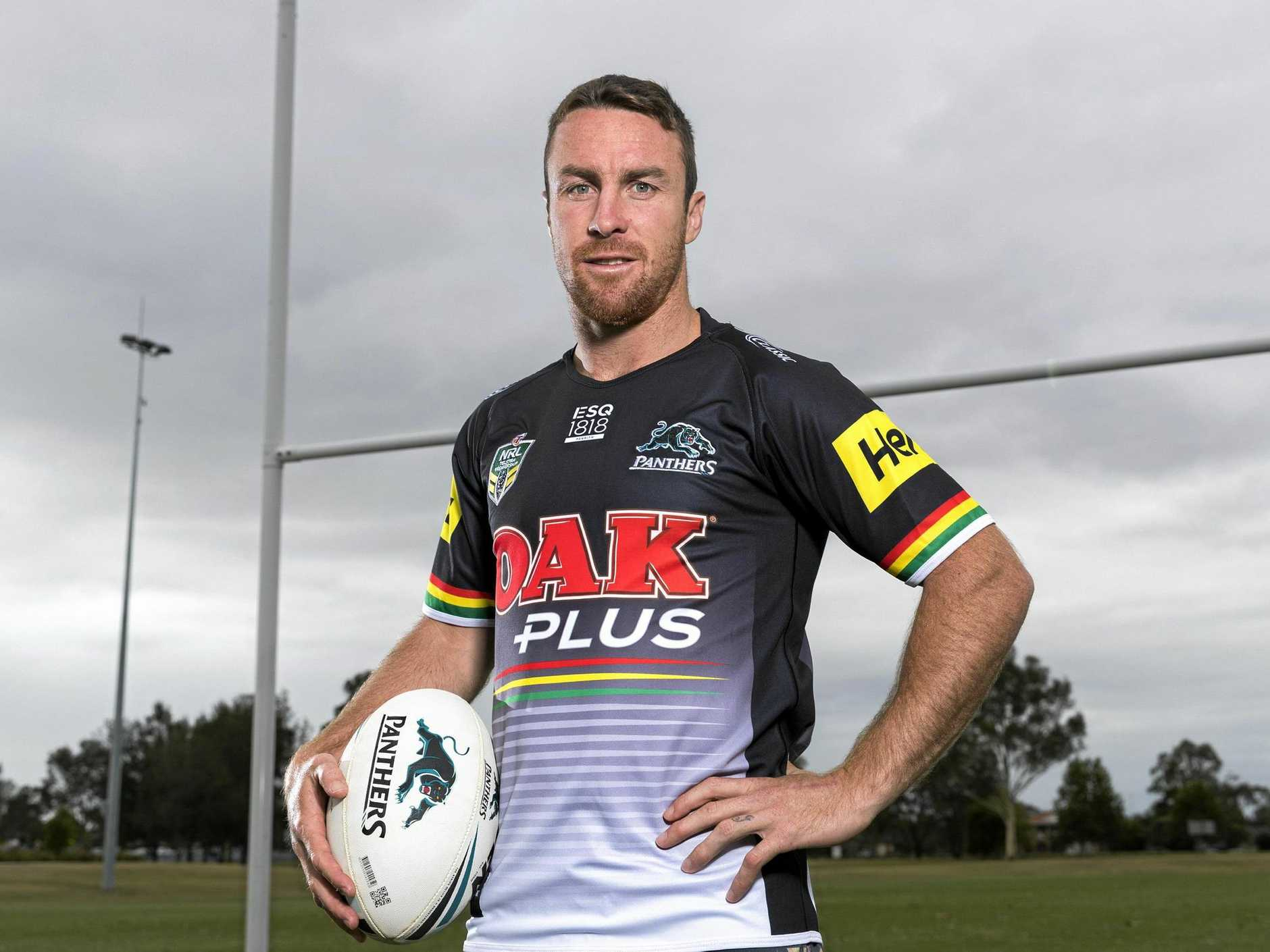 A supplied image obtained Monday, December 4, 2017 of Panthers' new signing James Maloney. Penrith Panthers have confirmed the signing of NSW and Kangaroos five-eighth James Maloney until at least the end of the 2020 NRL season. (AAP Image/Penrith Panthers Media, Jeff Lambert) NO ARCHIVING, EDITORIAL USE ONLY