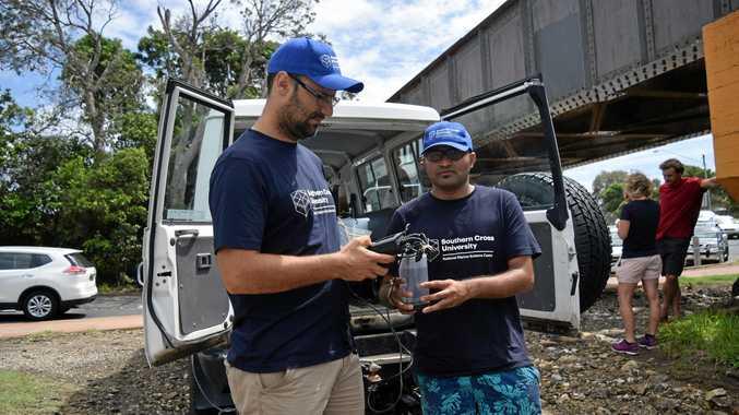WORLD FIRST: Southern Cross University professor Dr Isaac Santos and PhD student Praktan Wadnerkar examine how floods affect the water quality of Coffs Creek.