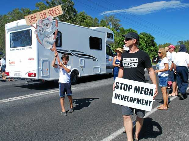 HEAVY TRAFFIC: More than 200 locals turned out to the recent Byron Deserves Better rally against the West Byron Developments.