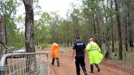SEARCH CONTINUES: The search for the dead body and other items linked to the disappearance of missing man Sam Price-Purcell continues at a Leyburn property today.