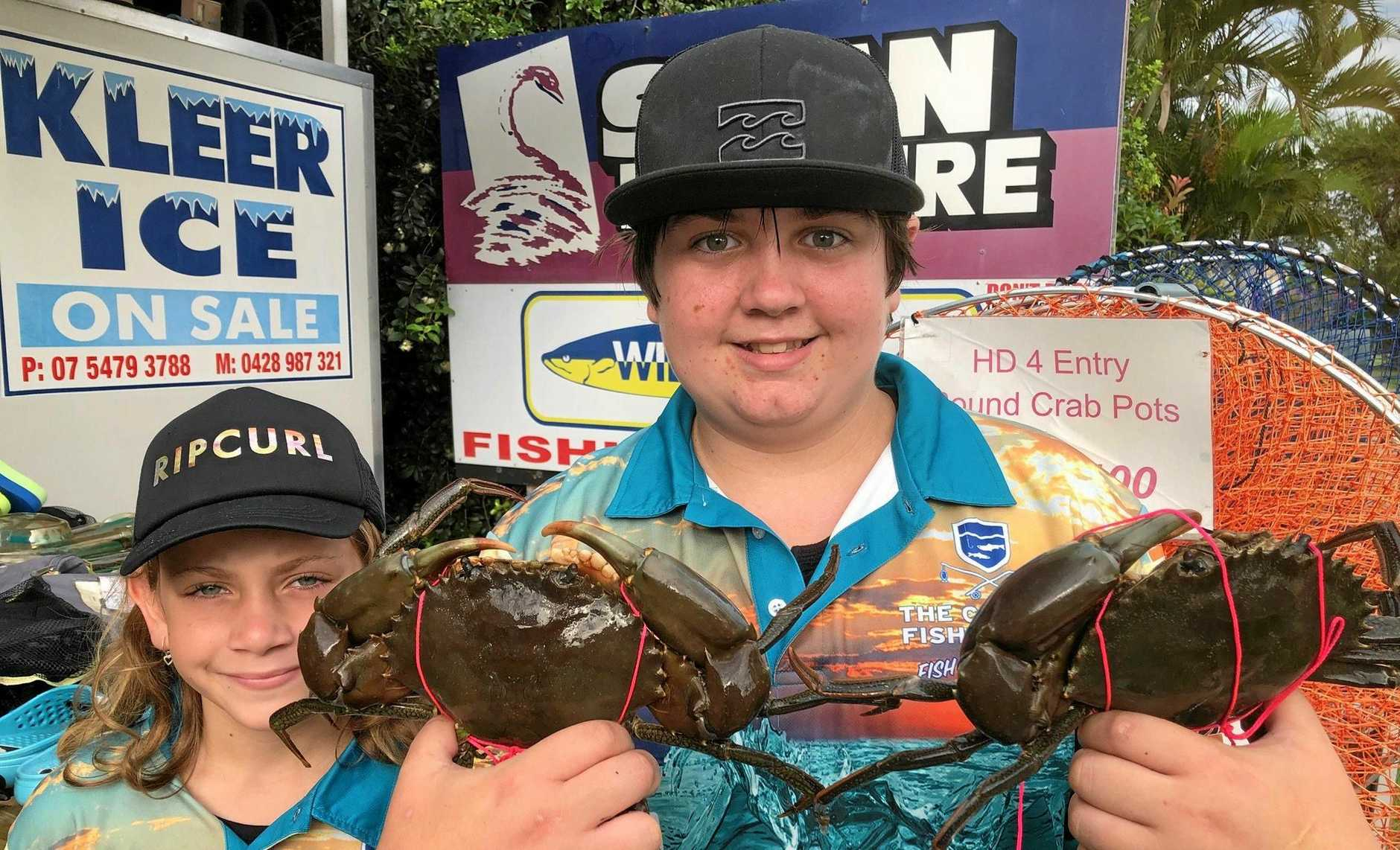 Gemma and Jarvis Henricks fished and crabbed with their dad Bruce over Saturday night for a few good crabs as well as a jew and big cod.