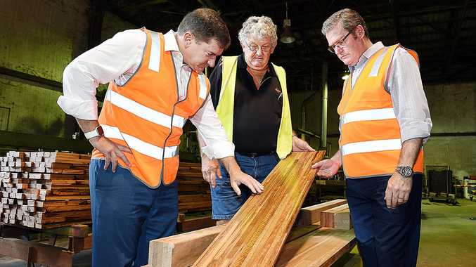 DTM Timber managing director Curly Tatnell, Wide Bay MP Llew O'Brien and Minister John McVeigh.