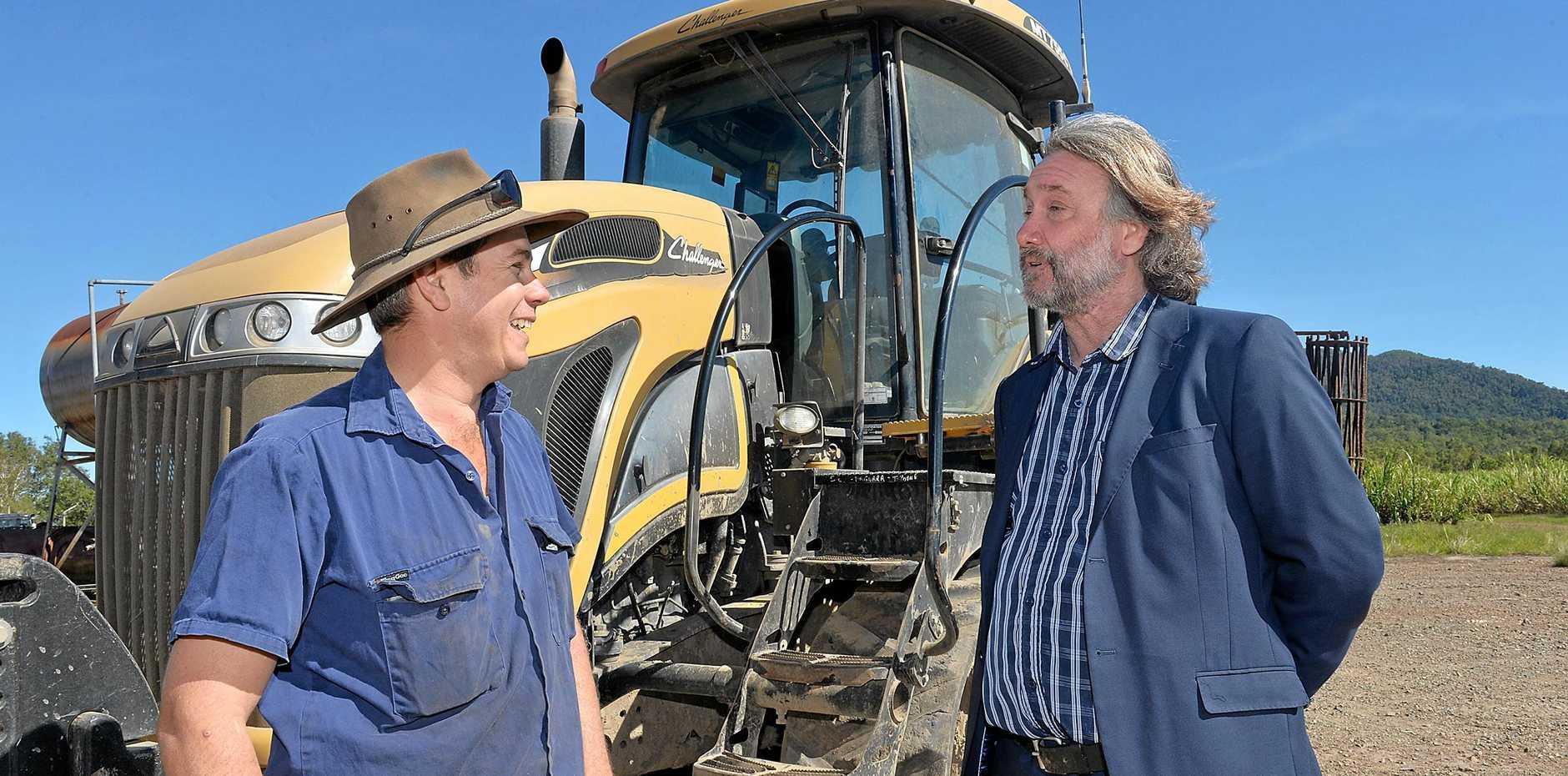 Farmer Phil Deguara and Bio Processing Australia executive director John Lockhart.