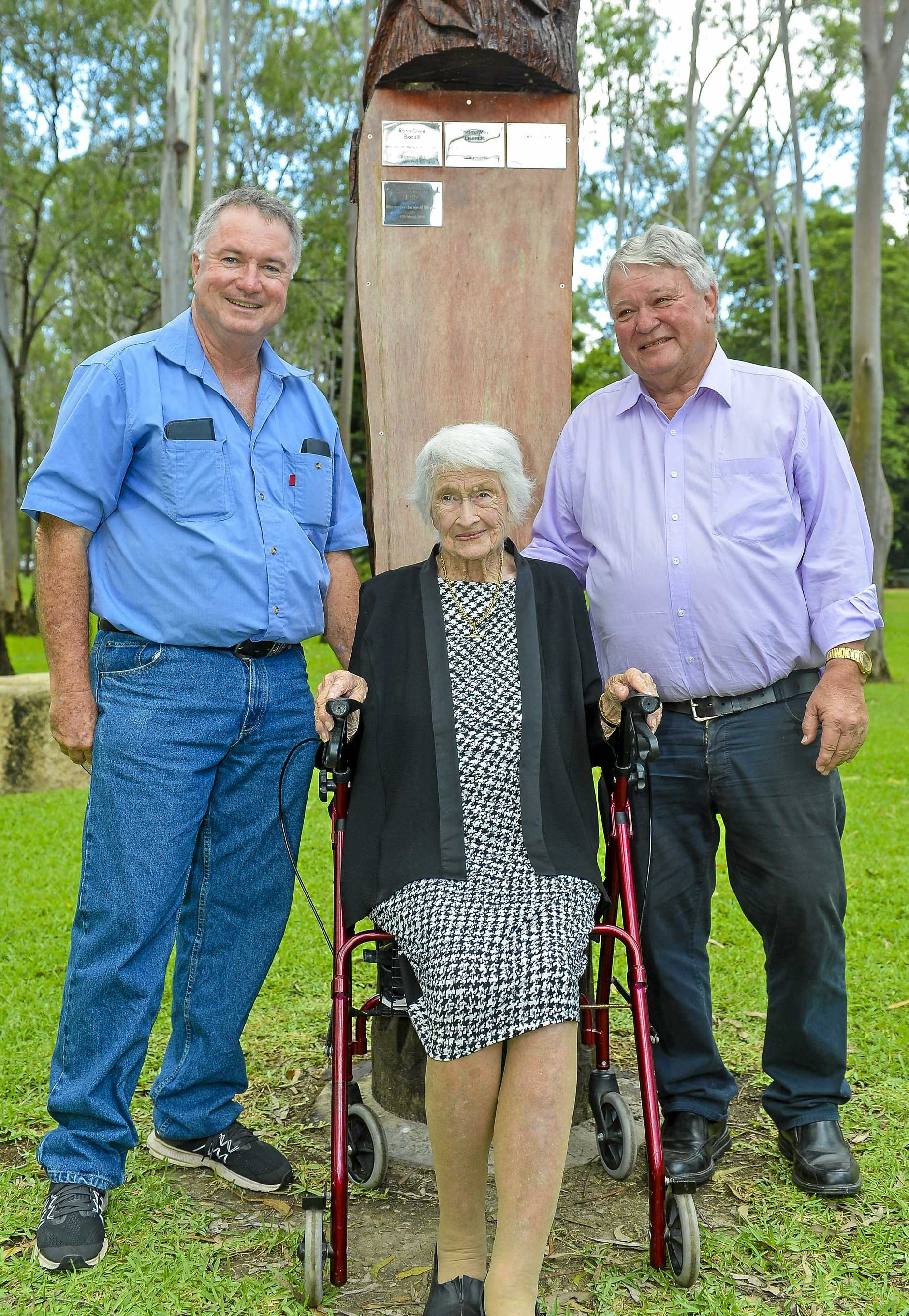Centenarians Pat Kelly had a plaque unveiled in her honour at a tree planting ceremony at Tondoon Botanic Gardens.