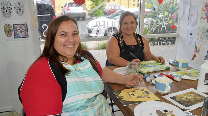 PERFECT OUTLET: Shareen Stone and Astra Hall look forward to attending adult art classes every Tuesday.