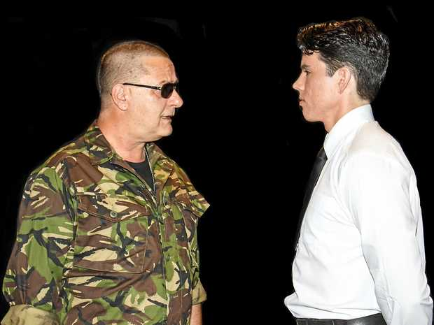 ON STAGE: John Rado as Colonel Nathan Jessep and Dylan Wheeler as Lt Daniel Kaffee in the Ballina Players production of A Few Good Men.