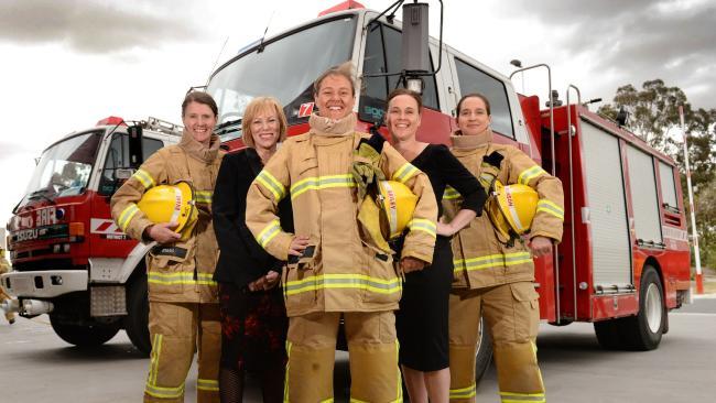 Female firefighter recruits. L-R Lee Evans, Lucinda Nolan, Amanda Bailey, Jane Garrett and Sarah Howson. Picture: Kylie Else