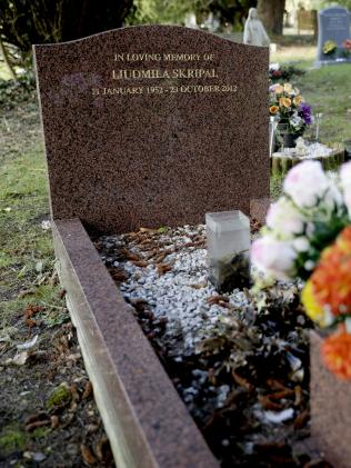The gravestone of Liudmila Skripal, the wife of former Russian double agent Sergei Skirpal. Picture: AP/Matt Dunham