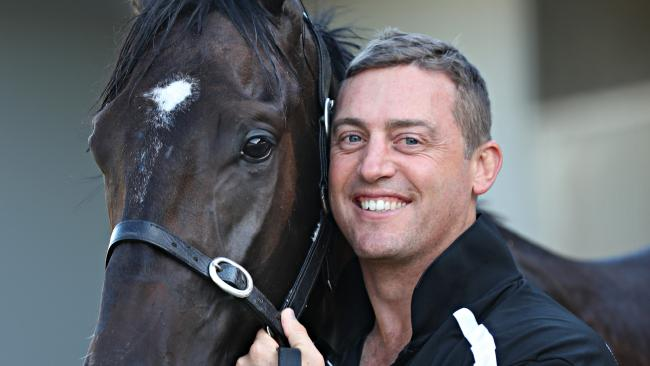 Trainer Tony Gollan with Ef Troop. Picture: Annette Dew