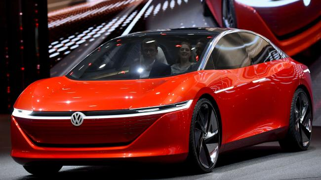The new Volkswagen I.D. Vizzion is displayed at the Geneva motor show. Pic: AFP.