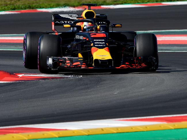 Daniel Ricciardo puts the Red Bull car to the test.