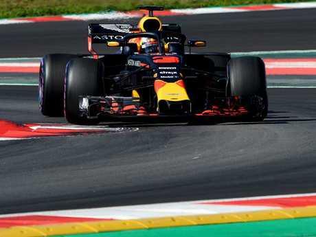 Daniel Ricciardo puts the Red Bull car to the test.